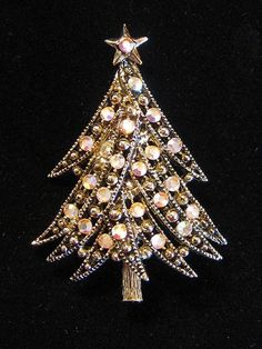 Vintage Signed Hollycraft Rhinestone Christmas Tree Brooch - available from the shop  Blomstrom Antiques on Ruby Lane