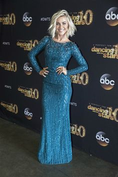 """This overwhelming amount of teal on Julianne Hough reminds us of our parent's carpet and sofas in the '90s. But hey, she did look great in this sparkly Jenny Packham dress that she wore during the """"DWTS"""" finals.Like us on Facebook?"""