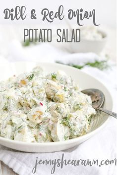 Dill and Red Onion Potato Salad. The perfect addition to your summer picnics or cook-outs. Baby gold potatoes tossed with dill red onion celery and chives plus a creamy dressing of yogurt mayo white wine vinegar seasoned salt and black pepper. Potato Salad Dill, Dill Potatoes, Creamy Potato Salad, Grilling Recipes, Cooking Recipes, Healthy Recipes, Healthy Kids, Healthy Salads, Healthy Living
