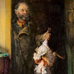 B is for Bonatzi, a Czech shoemaker who came to Skagen in 1882. He had been walking through Europe and was stopped by the sea. Here he lived in a ramschackle shed until his death in 1913. Anna Ancher - 'Bonatzi with cock'. 1906