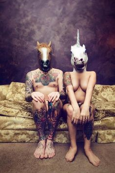 Unknown Artist - Horse and unicorn on couch. ( Photography )