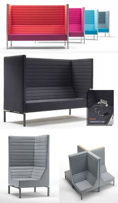 Innovative sofas for public waiting areas: Stripes collection Giulio Marelli Italia Sofa Furniture, Furniture Design, Lounge Design, Cafe Design, Open Space Office, Office Lounge, Waiting Area, Small Sofa, Banquette