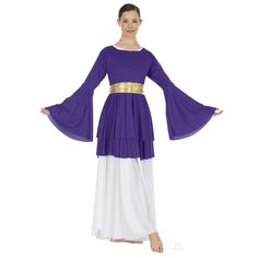 Eurotard 13813 Double Layer Peplum Top With Bell Sleeves This polyester double layer peplum top with bell sleeves adds a dramatic look to your worship dance outfit. Praise Dance Wear, Praise Dance Dresses, Worship Dance, Jazz Dance, Alvin Ailey, Royal Ballet, Dark Fantasy Art, Body Painting, Dance Uniforms