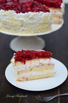 Vanille-Himbeer Torte - Jennys Backwelt Vanilla and raspberry cake - Jenny's baking world Wedding Cakes With Cupcakes, Cool Wedding Cakes, Cupcake Cakes, No Bake Cookies, Cake Cookies, No Bake Cake, Raspberry Desserts, Raspberry Cake, Baking Recipes
