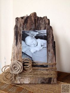 Old barn wood becomes a picture frame ~ Could use a little burlap tie for a boy ~ So cute!