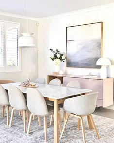 Have been searching for rugs today for the new house. This one is going to my sons house - so I will need one for my dining area and living… Decor Interior Design, Interior Styling, Interior Decorating, Scandinavian Wallpaper, Wallpaper Decor, Simple House, Dining Area, Dining Rooms, New Homes