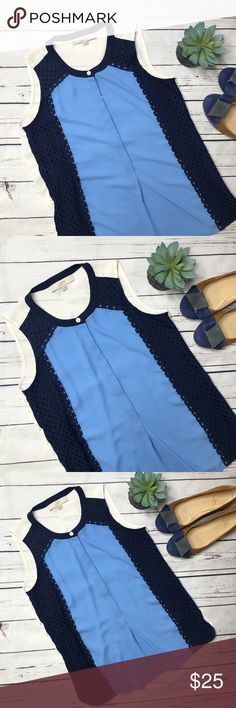 "{Loft} sz XS color block crochet navy blouse Ann Taylor Loft color block sleeveless crochet blouse in excellent condition! Features a popover style front.   Measurements approximate:  Bust: 17 1/2"" Shoulder to hem: 24""  Fabric content:  100% polyester  Offers always welcome in my closet! LOFT Tops Blouses"