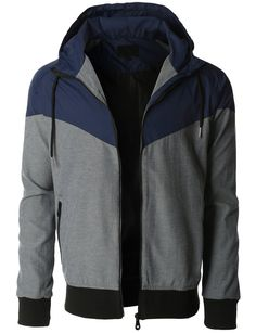 Mens Lightweight Windbreaker Rain Zip Up Hoodie Jacket ...