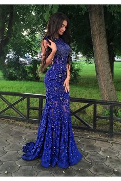 Long Blue Beaded Lace Prom Formal Evening Party Dresses 3021454