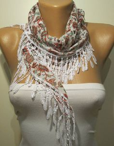 White and Red Flowered Elegance Shawl / Scarf with by SwedishShop, $13.90
