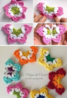 Discover thousands of images about Very nice crochet butterfly and easy to perform. In the style of Irish Crochet. Use such crochet butterfly for accessories like head band, hair pin, brooch Crochet Butterfly Free Pattern, Crochet Flower Patterns, Crochet Designs, Crochet Flowers, Knitting Patterns, Appliques Au Crochet, Crochet Motifs, Crochet Squares, Mode Crochet