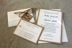 Rustic Wedding Invitation Set handmade by me Rustic by SweetSights
