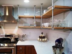 kitchen shelves pipes