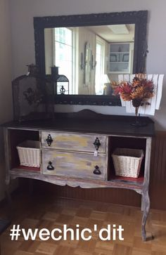 We Chicd It! Breathing new life into your everyday furniture!    Custom Rebuilt/Refinished Antique Buffet/Entertainment Unit with decor  ***12/18 -