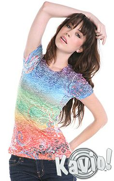 887f6fafa4e5 This Rainbow Vine Burnout Sublimation Crewneck Tee - Women by Kavio!