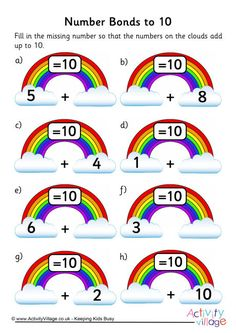 Rainbow number bonds worksheet to 10