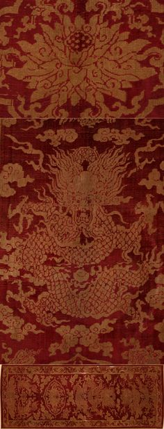 Ancient Chinese velvet textiles from 1063. The top textile features the chrysanthemum, which is a symbol of female beauty in Chinese culture. The bottom textile features a dragon, representative of strength, goodness and vigilance. Note the use of red, which is representative of the south, fire and the phoenix. This red was often considered sacred in Mongolia, and the color of joy in China.  #textiles #velvet #ancienttextiles #culture