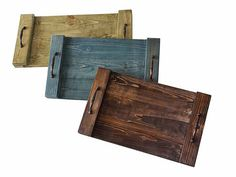 Rustic wooden trays trays pallets reclaimed wood by APT8ecodesign