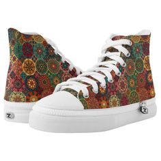 Vintage patchwork with floral mandala elements High-Top sneakers