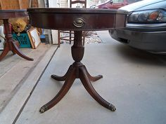 $100.00 Look what I found on @eBay! http://r.ebay.com/4OdHct   Vintage Leather Top Drum Table With Metal Claw Feet