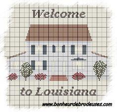 Maison - house - louisiane - point de croix - cross stitch - Blog : http://broderiemimie44.canalblog.com/
