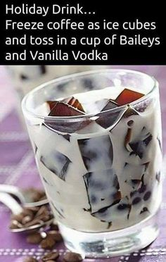 Baileys, vanilla vodka and coffee ice cubes