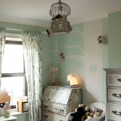 paint color, tree mural, distressed painted furniture, fun chandelier