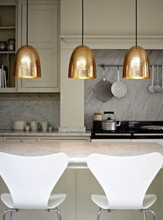 Maybe in chrome? Kitchen lights | More decor lusciousness here: http://mylusciouslife.com/photo-galleries/architecture-and-design-beautiful-buildings-gardens-and-decor/