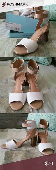 "Block High Heels White and tan 3"" block heel. White and tan leather. Faux wooden heel. Never worn, just tried on. ANTONIO MELANI Shoes Heels"