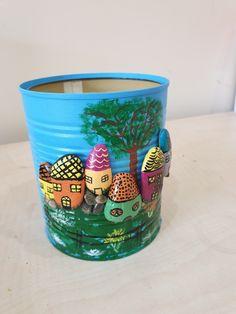 Salça kutularından saksı Stone Crafts, Rock Crafts, Diy Home Crafts, Arts And Crafts, Recycled Crafts Kids, Crafts For Kids, Painted Jars, Painted Rocks, Tin Can Crafts