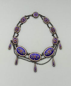 19th century seed pearl and enamel necklace.