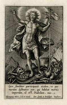 Christ conquering Satan and Sin; Christ seen holding a cross, trampling on a skeleton, the Devil, and a monstruous snake. Engraving