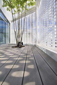 Perforated metal screen - Company Building in Kanagawa / HMAA