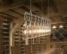 Love this lamp! It would be perfect for my wine cellar. If I had a wine cellar. And enough wine to fill it! Diy Luz, Industrial Lighting, Industrial Chic, Industrial Chandelier, Industrial Industry, Linear Chandelier, Diy Chandelier, Industrial Design, Wine And Beer
