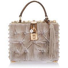 Dolce & Gabbana Velvet Box Bag (58 985 SEK) ❤ liked on Polyvore featuring bags, handbags, clutches, dolce gabbana purses, logo bags, embellished handbags, velvet purse and embellished purse