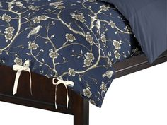 "Loom Decor, Tie Duvet on ""Branch Out"" - Navy Blue Duvet Cover Blue Duvet, White Bedding, Navy And White, Navy Blue, Fabric Patterns, My Dream Home, Loom, Duvet Covers, Hate"