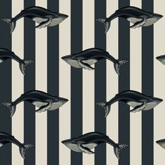 Part of House of Hackney's Art Deco Menagerie series, the 'Baleana' wallpaper print features sleek stripes overlaid with detailed illustrations of whales.