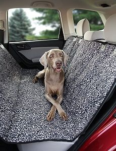 Deeziner K9 Waterproof Pet Back Seat Cover - Heavy duty leopard print pet car seat cover. Hammock option stops pets from jumping into the front seat with you.
