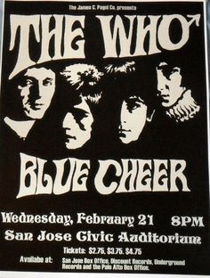 The Who/Blue Cheer Concert Poster - Civic Auditorium - San Jose 1968