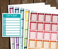 Printable Meal Planning Side Bar Stickers | Meal Planner Stickers | Meal Side Bars | Weekly Meal Tracker | Side Bar Meal Plan | Erin Condren by ellums on Etsy