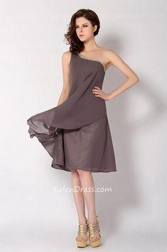 One Shoulder Chiffon Short Prom Dresses Homecoming Dresses Short Bride – kelendress