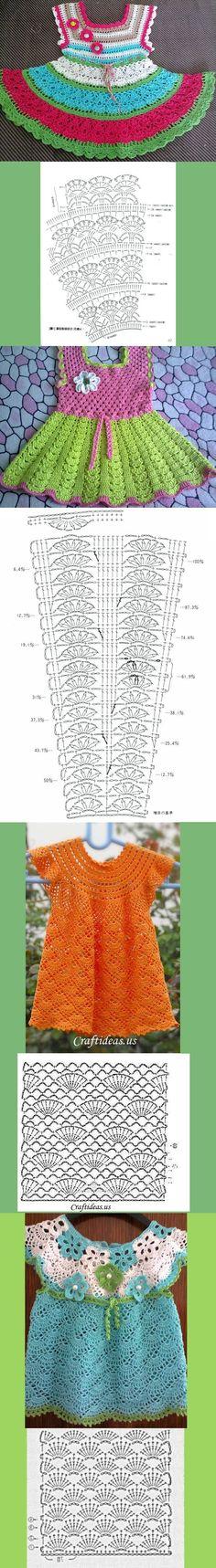 diagrammen om kinderjurkjes mee te haken