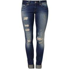 Mavi SERENA Slim fit jeans partly cloudy artist vintage ($87) ❤ liked on Polyvore featuring jeans, pants, bottoms, calças, destroyed denim, distressing jeans, ripped blue jeans, destroyed jeans, blue skinny jeans and ripped skinny jeans