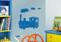 Locomotive Wall Sticker. Liven up your kids playroom with this vibrant and pulsating locomotive engine emanating wisps of smoky clouds into mid air on the wall decors. http://walliv.com/locomotive-wall-sticker-wall-art-decal