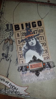 halloween altered art altered BINGO card by VintageXpressions, $13.00