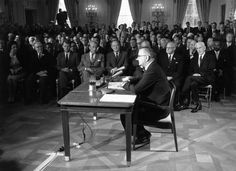 July 6, 1964: Senators and other US leaders listening to President Lyndon Johnson making a speech in the East Room of the White House during the signing of the Civil Rights Bill. Third from left in the front row is Senator Robert Kennedy and fifth from left, Vice President Hubert Humphrey.