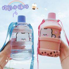 Dog Water Bottle, Cute Water Bottles, Drink Bottles, Kawaii Accessories, Japanese Snacks, Cute Cups, Cute Desserts, Starbucks Drinks, Bubble Tea