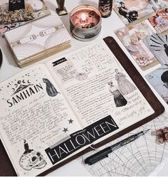 Samhain Blessing to everyone and May your night be filled with spooky fun and merry pranks! Bullet Journal Aesthetic, Bullet Journal Writing, Bullet Journal Spread, Bullet Journal Ideas Pages, Bullet Journal Inspiration, Grimoire Book, Arte Obscura, Scrapbook Journal, Planner