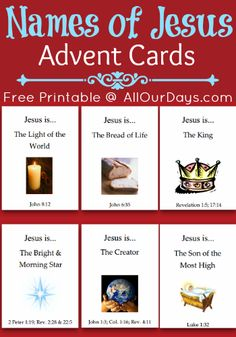 Names of Jesus {Advent} Cards, Start anytime before Christmas, read through as many as you want. #freeprintable @ AllOurDays.com