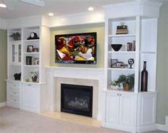Entertainment wall units with electric fireplace media wall unit with electric fireplace built ins entertainment wall unit entertainment center with Shelves Around Fireplace, Wall Units With Fireplace, Shelves Around Tv, Tv Over Fireplace, Fireplace Built Ins, Fireplace Wall, Living Room With Fireplace, Fireplace Design, Fireplace Ideas